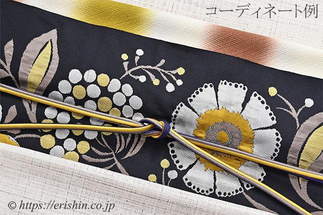 帯揚げ(二色段紐流地紋/栗皮茶色×菜種油色)