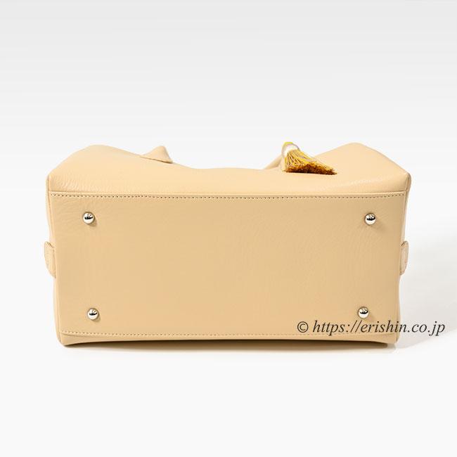 牛革シュリンクバッグ(ハチミツベージュ×サフランイエロー/タッセル付き・小)