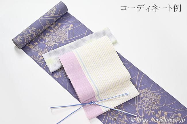 帯締め 細組(薄花色×白)[夏・単衣向]