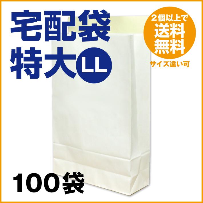【2ケースで送料無料】宅配袋 白 特大 LLサイズ 100袋 【1袋当り 29.6円 (税込 32.6円)】