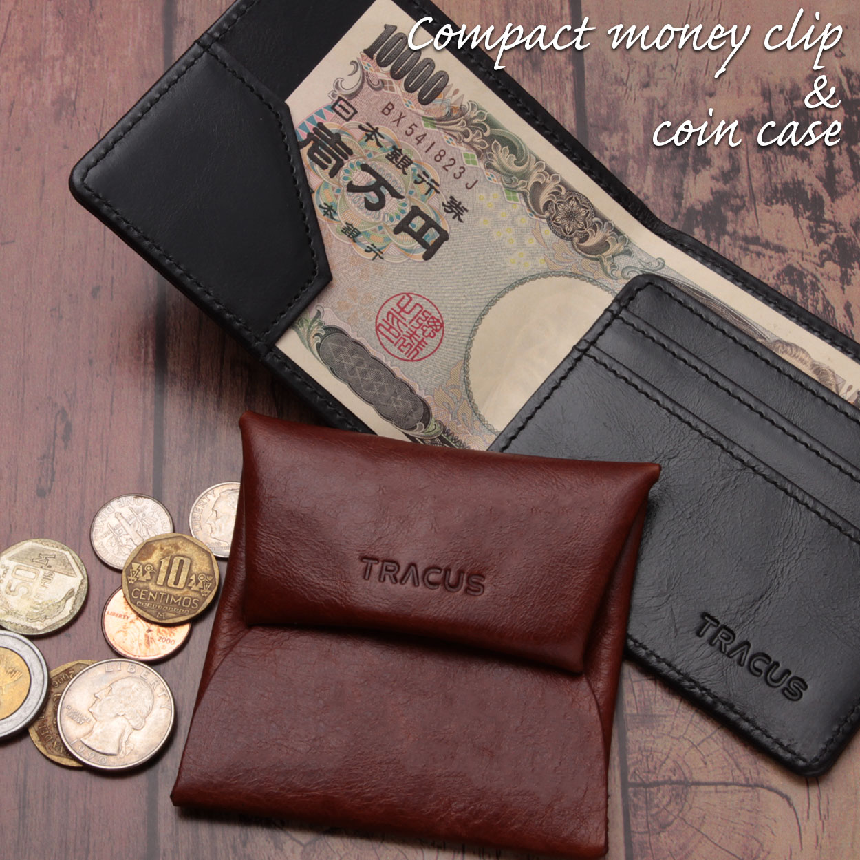 【TRACUS(トラッカス)】マネークリップ 二つ折り財布 小銭入れ無し