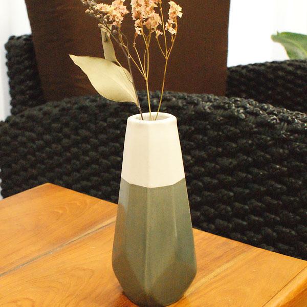 陶器 フラワーベース A グレー/ホワイト