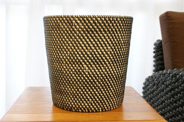 シンセティックラタン 鉢カバー Lサイズ ブラック