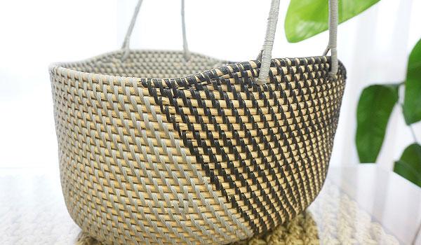シンセティックラタン ハンドルバスケット (グレー/ブラック)