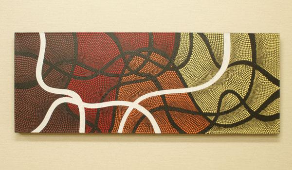 バリ絵画 ドットアート 120×45 Omix
