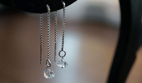NY産 ハーキマーダイヤモンド ピアス シルバー925