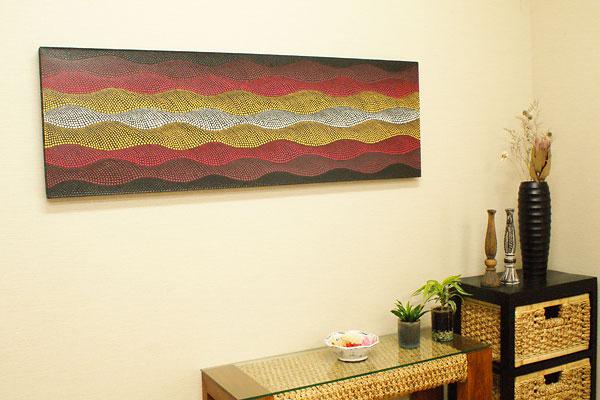 バリ絵画 ドットアート 140×45 K