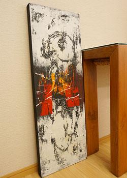 バリ絵画 モダンアート 100×35 30