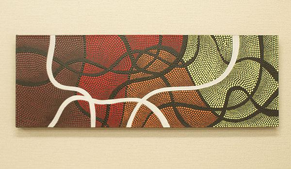 バリ絵画 ドットアート 100×35 Omix