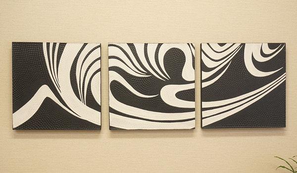 バリ絵画 3連 ドットアート 01