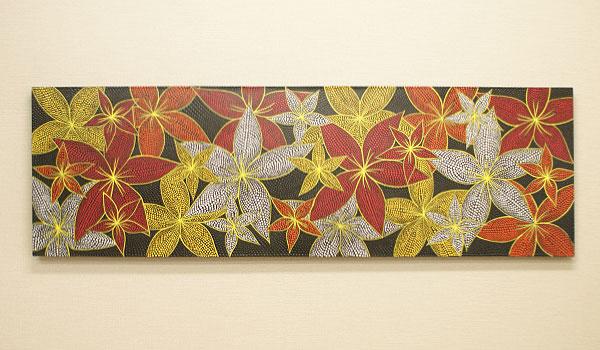 バリ絵画 ドットアート 160×50 プルメリア レッド