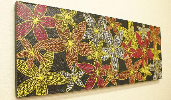 バリ絵画 ドットアート 120×45 プルメリア レッド