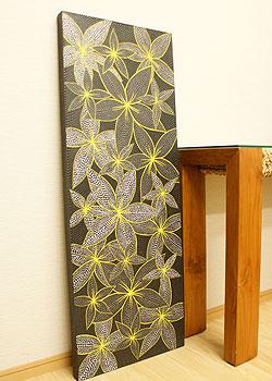バリ絵画 ドットアート 120×45 プルメリア モノトーン