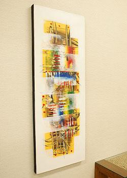 バリ絵画 モダンアート 120×45 26