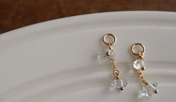 NY産 ハーキマーダイヤモンド ピアスチャーム 『 K14GF 』