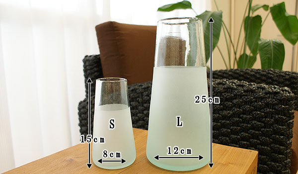 ツートン ガラス フラワーベース A-S