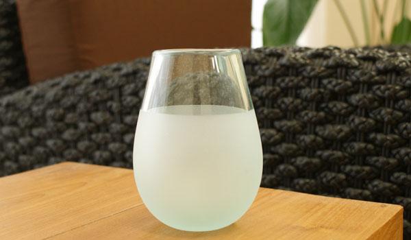 ツートン ガラス フラワーベース エッグ