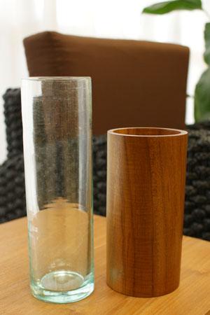 バリガラス&チークウッド フラワーベース ラウンド
