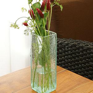 バリガラス フラワーベース クラック スクエア Mサイズ