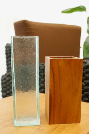 バリガラス&チークウッド フラワーベース スクエア