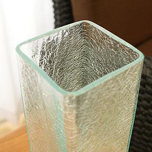 バリガラス フラワーベース クラック スクエア Lサイズ
