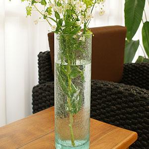 バリガラス フラワーベース クラック ラウンド Lサイズ