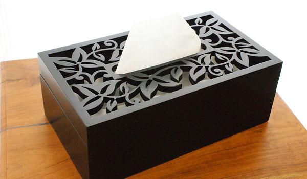 木製 ティッシュケース リーフ
