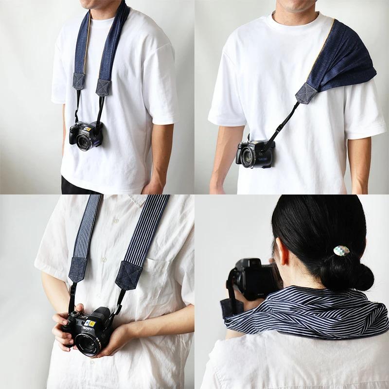 カメラ ストラップ ガーゼ 日本製 おしゃれ 便利 かわいい 綿100 肩 首 一眼レフ ミラーレス 一眼用 ネックストラップ //メール便もOK