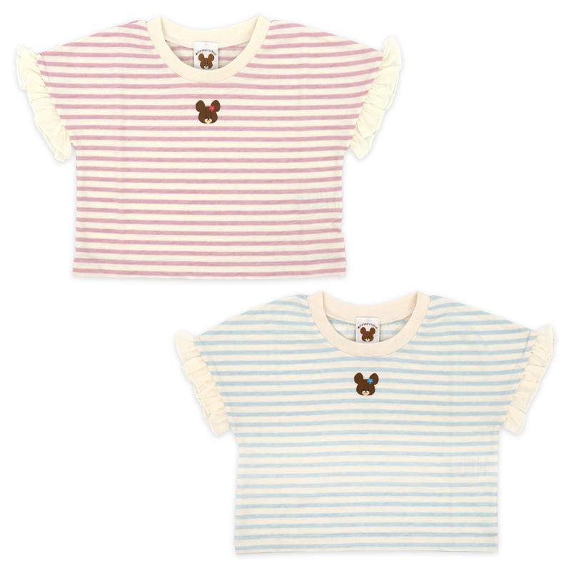 くまのがっこう ジャッキー Tシャツ 半袖 女の子 キッズ 子供 服 100 110 120 ショート丈 大きめ ビッグT キャラ プレゼント おしゃれ ネッククーラー付き //メール便もOK
