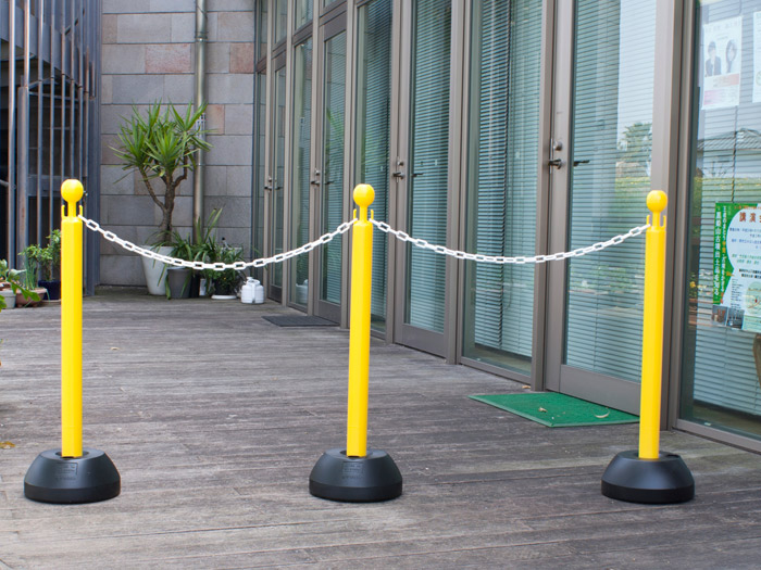駐車場 ポール チェーン フェンス チェーンスタンド 駐車場ポール チェーンポール 3本セット ホワイト ブラウン シルバー イエロー チェ ーン 5m 1.5m 1m