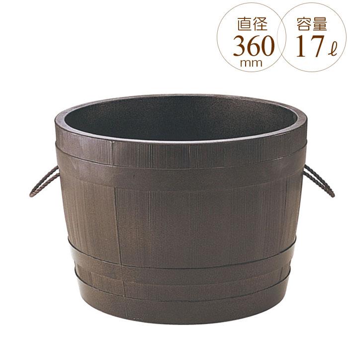 プランター 大型 円形 植木鉢 円柱形 GRCプランター ビヤ樽ポルカ 木目 直径360×H260mm ガーデニング 園芸用品 【代引不可】