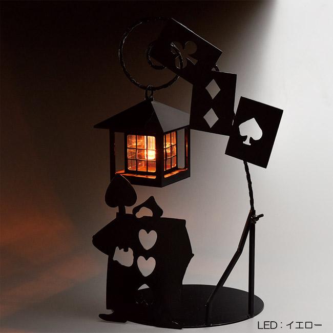 ソーラーライト 屋外 照明 ガーデンライト LED 不思議の国のアリス シルエットソーラー(トランプ兵士) 組立式 光センサー付 庭 照明器具 おしゃれ