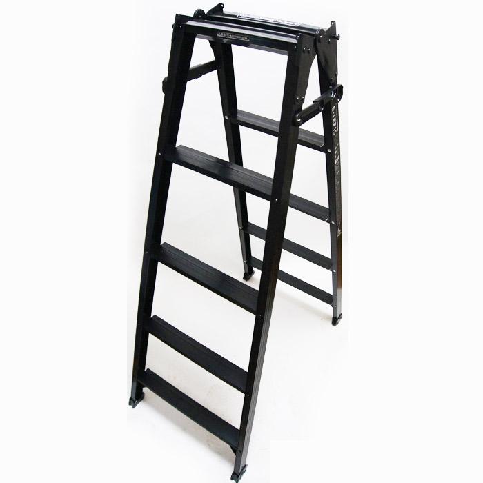 脚立 折りたたみ おしゃれ アルミ 5段 はしご 兼用脚立 S-TEP15 H1400×W567×D926 一台単位 ブラック 軽量 作業台 ハシゴ 梯子