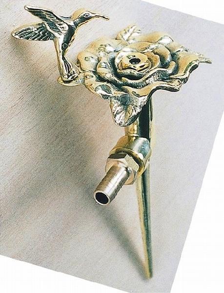 スプリンクラーフラワー散水栓バラ・ハチドリ真鍮色 ガーデングッズ 水遣り 水やり 散水用品