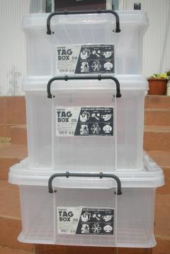 収納ボックス 収納ケース フタ付き プラスチック製 タグボックス06 透明(クリア) 約幅635×奥行439×高さ226mm お買い得6台セット 積み重ね可能 プレート付