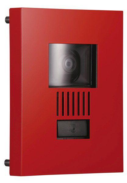 インターホンカバー ステンレス インターフォンカバー ミュール ステンレス素材  特注色・レッド  装飾 エクステリア 外構工事 リフォーム