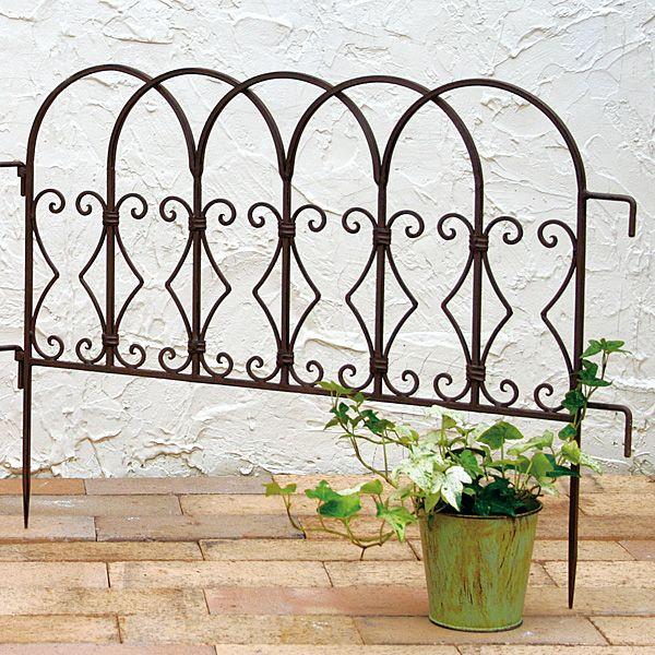 花壇 フェンス ガーデニング ミニフェンス アイアンフェンス ブラウン 単品1枚 連結可 幅60cm
