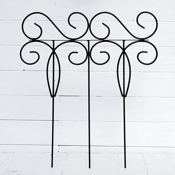花壇 フェンス ガーデニング ミニフェンス ミニトレリス  アイアンフェンス ブラック 44×50cm