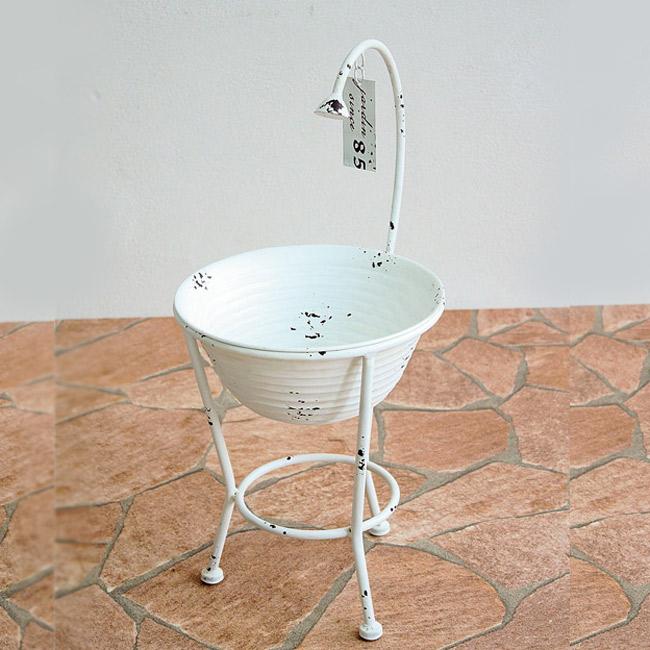 プランター 植木鉢 ガーデンプランター直径19.5cm シャワーバケット ホワイト (底穴あり) アイアン 鉢 オーナメント オシャレ