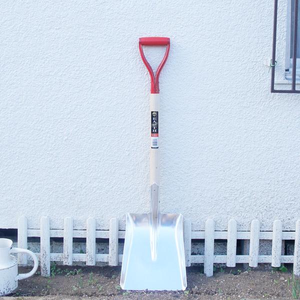 雪かき スコップ 道具 アルミ シャベル ショベル 赤柄 木柄 アルミスコップ  角形 EARTH #2 角型スコップ 全長970mm 雪かき 土起こし 庭 ガーデニング 家庭菜園 農業に