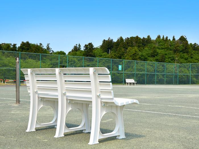 ガーデン ベンチ Lベンチ 2人掛け 椅子 幅145.5×奥行52×高さ73.4cm ポリプロピレン樹脂 ホワイト 白 2脚入り1ケース単位【代引不可】