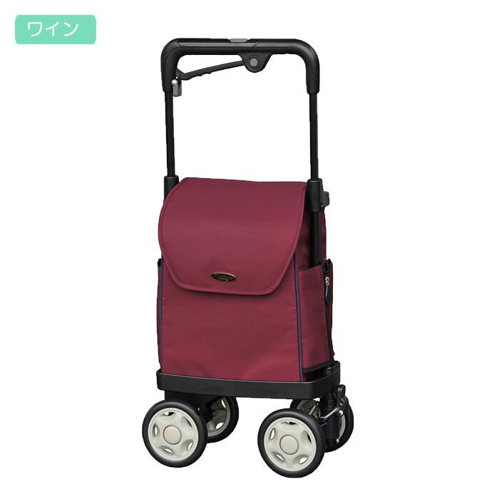 ショッピングカート 4輪 軽量 横押し ウォーキングキャリー iカートネオ 須恵廣工業 ワイン ブレーキ付き レインカバー付き 手押し車 シルバーカー おしゃれ