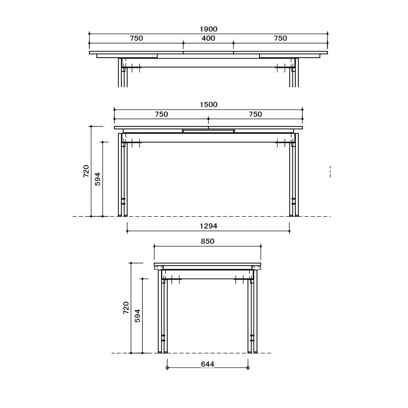 [幅150~190/高さ72] 伸長式 ダイニングテーブルセット スチール脚 ヴィンテージ調(150伸長テーブル、BC03チェア×4)