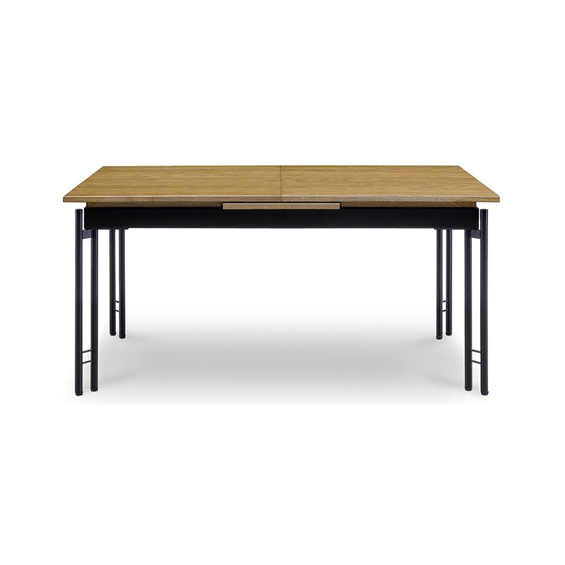 [幅150~190/高さ72] 伸長式 ダイニングテーブルセット スチール脚 ヴィンテージ調(150伸長テーブル、BC01チェア×4)