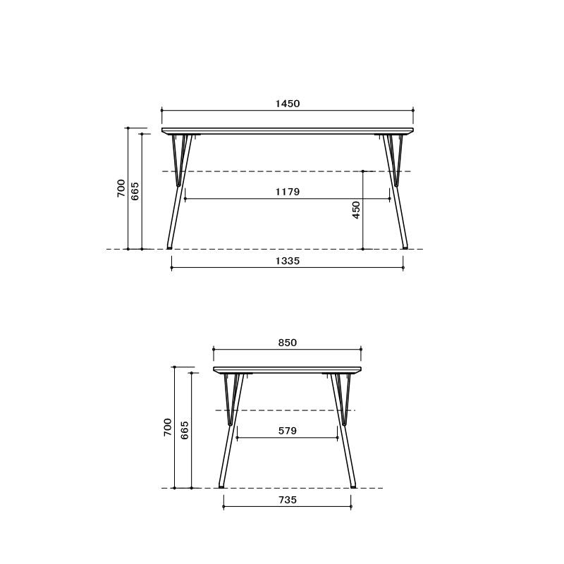 [幅145/高さ70] ダイニングテーブルセット スチール脚 ヴィンテージ調(145テーブル、BC01チェア×4)