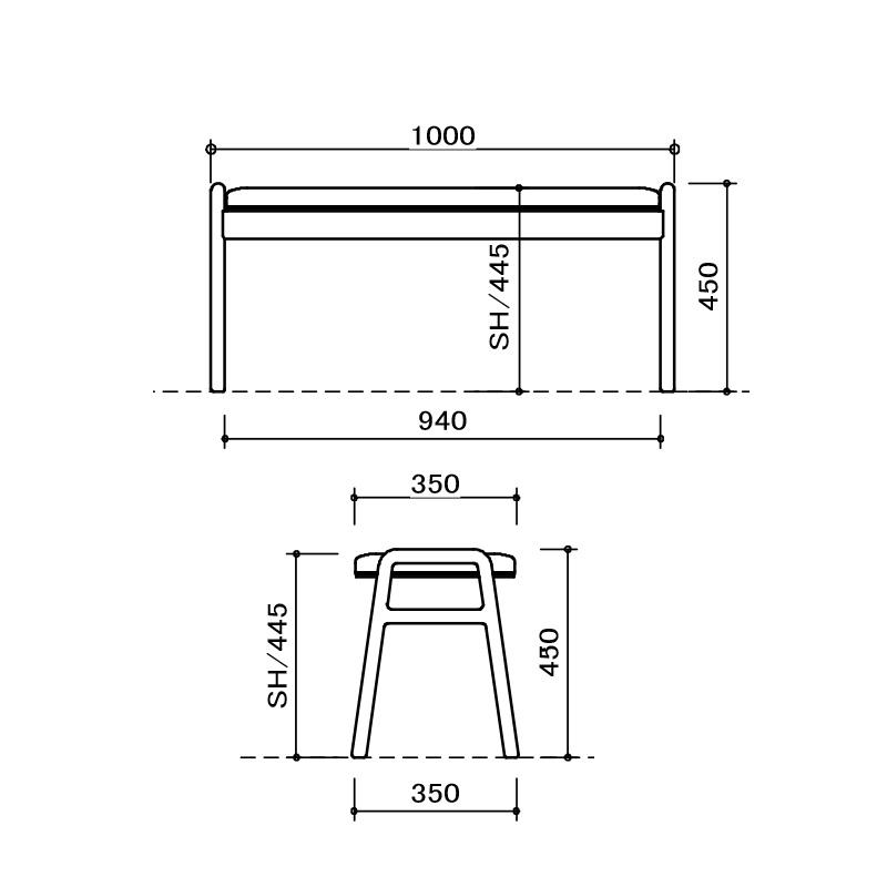 [幅145/高さ70] ダイニングテーブルセット スチール脚 ヴィンテージ調(145テーブル、BC02チェア×2、BC01ベンチ×1)