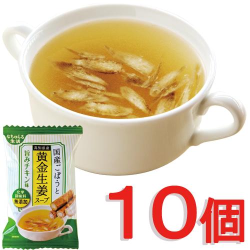 国産ごぼうと高知県産黄金生姜スープ〜旨みチキン味〜(10個)(フリーズドライ 化学調味料無添加)(ネコポス便)_s10