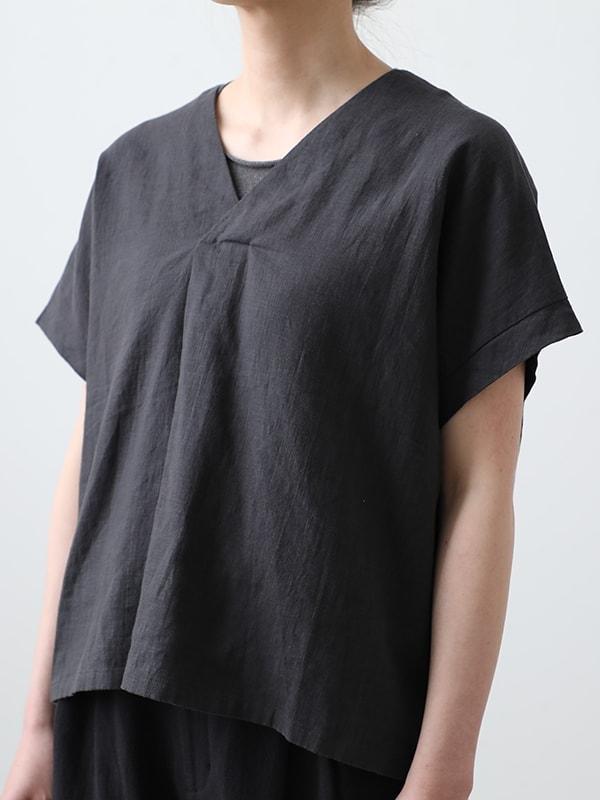 water linen v neck pullover