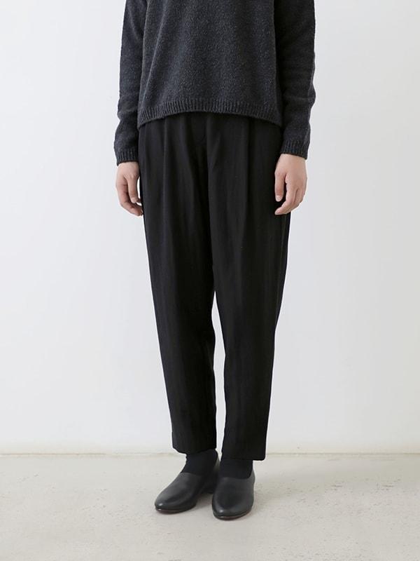 cotton wool narrow tuck pants