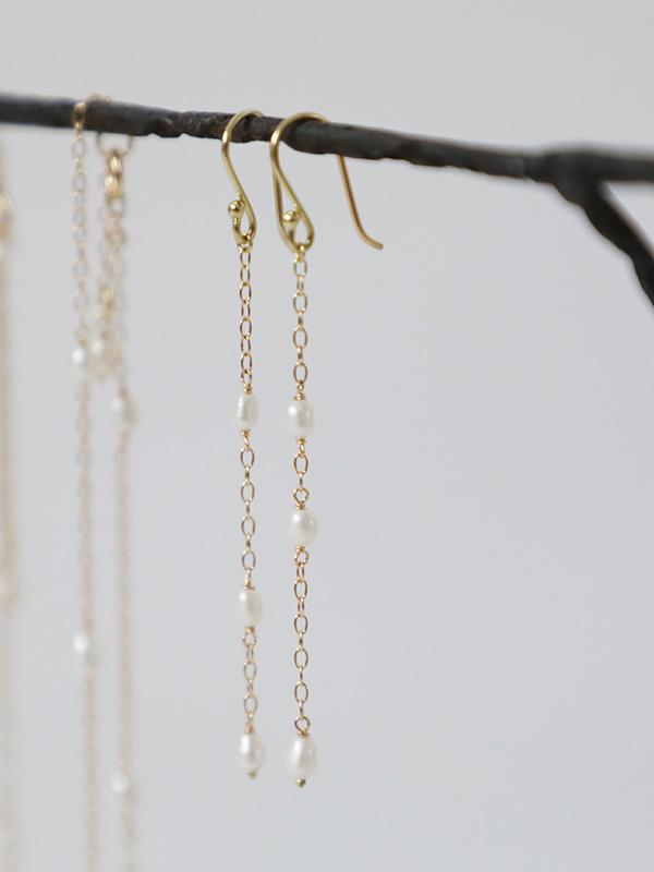 random rice pearl earrings